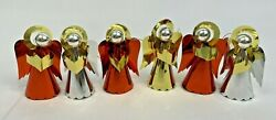 Vintage Foil Angel Ornaments Choir Christmas Decorations Gold Red Silver Lot 6