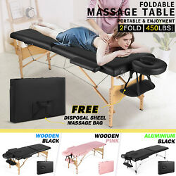 Massage Table 2 Folding Portable Spa Bed Adjustable Tattoo Salon W/carrying Bag