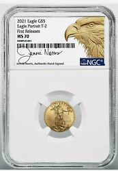 2021 5 Gold Eagle Type 2 Ngc Ms70 First Releases - Designer Signed Jenni Norris