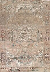 Semi-antique Geometric Oriental Traditional Area Rug Hand-knotted Wool 8x12 Ft