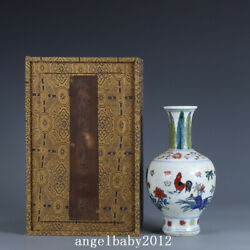 7.5 Antique Chinese Porcelain Ming Dynasty Chenghua Doucai Chicken Flower Vase
