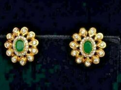 1.10ct Natural Diamond 14k Solid Yellow Gold Emerald Stud Earring Screw Back R26