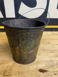 Antique Victorian Tin Litho Patriotic Sand Pail Rustic Toy Country Farmhouse