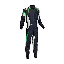 New Omp One Evo My15 Black/green Racing Suit With Fia Homologation - 48