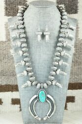Turquoise And Sterling Silver Squash Blossom And Earrings - Chris Hale