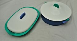 Tupperware Microwave Flat Casserole 3190 Lot Of 2 Microsteamer 3066 Round Dish