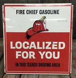 Vintage 1970s Texaco Fire Chief Gasoline Gas Station Pump Advertising Sign