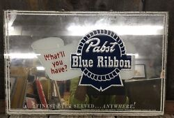 Vintage Pabst Blue Ribbon Brewing Co. 'what'll Have' Advertising Mirror Sign