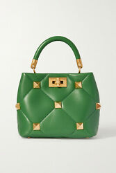 Valentino Garavani Roman Stud Small Quilted Leather Tote Green New With Tag