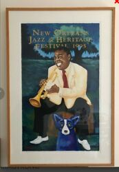 1995 Jazz Fest Poster Louis Armstrong Blue Dog By Rodrigue Professional Framed