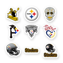 Pittsburgh Steelers Set Of 9 Stickers By 2 Inches Each Die Cut Vinyl Decal Truck