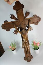 Antique Large French Wood Carved Wall Crucifix Cross Religious