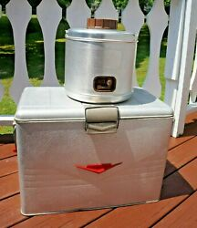 Vintage Poloron Aluminum Cooler Ice Chest And Poloron Featherflite 2 Gal Jug