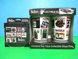The Beatles Collectible Glass Pint And Coaster Gift Set Record Album Designs Nib