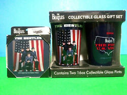 The Beatles Collectible Glass Pint And Coaster Gift Set 1st Us Tour Nib