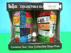 The Beatles Collectible Glass Pint Gift Set Us Concert Tickets Design Nib