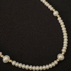 """Beautiful High End Estate 14k Solid Yellow Gold And Button Pearl Necklace 17 1/8"""""""