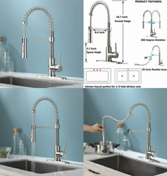 Kingo Home Farmhouse Brushed Nickel Spring Kitchen Faucet With