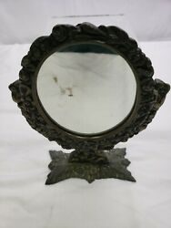 Vintage Antique Style Vanity Mirror Table Top Victorian Cast Iron Reproduction