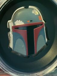 Star Wars Boba Fett Colored Helmet 2oz Ultra High Relief Silver Coin 250 Mint