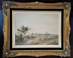Watercolor Farm Landscape On Paper, C Pyne, Charles Pyne, England, 19th C, 21w