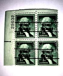 Vintage George Washington One 1 Cent Stamp Green -block Of Four4 25033