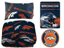Denver Broncos Twin Bed In A Bag Set With Throw Blanket And Round Rug