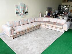 1980s L Shaped Abstract Floral Fabric Sectional Sofa