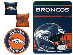 Denver Broncos Invert Woven Pillow, Round Rug And Throw Blanket