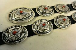 Thick And Heavy 20+ozt. Navajo Concho Belt W/15 Gem Coral Buckle Sterling Silver