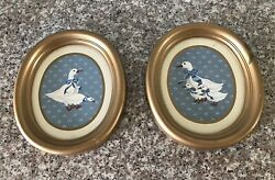 Vintage Home Interior Oval Goose Pictures Set Of 2 No Glass