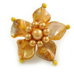 Antique Yellow Shell And Faux Pearl Flower Rings Silver Tone - 50mm Diameter