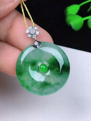 Vintage Chinese Carved Icy Emerald Sun Green Jadeite Jade Donut Pendant 18k Gold