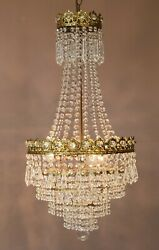 Vintage Crystal Chandelier, Antique French Style Lighting, Lamp, Home Lighting