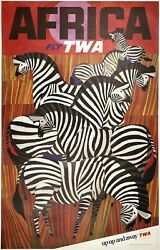 Original Vintage Poster Africa Fly Twa Up Up And Away Airline Travel Klein Linen