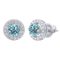 3.5 Ct Light Blue Moissanite Solitaire Halo Stud Earrings In Sterling Silver