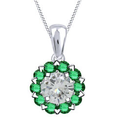 6 Ct Genuine Moissanite And Emerald Sterling Silver Halo Pendant Necklace