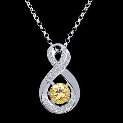 6 Ct Golden Moissanite Infinity Solitaire Pendant Necklace In Sterling Silver