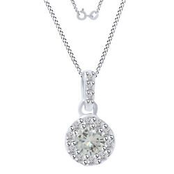 6 Ct Round Genuine Moissanite Halo Pendant Necklace In Sterling Silver