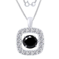 6 Ct Black Moissanite Sterling Silver Dancing Halo Pendant Necklace