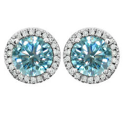 3.5 Ct Round Light Blue Moissanite Sterling Silver Round Halo Stud Earrings