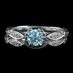 2.5 Ct Light Blue Moissanite 2 Piece Bridal Set Wedding Rings In Sterling Silver