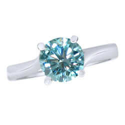 4.5 Ct Light Blue Moissanite Sterling Silver Solitaire Engagement Bridal Ring