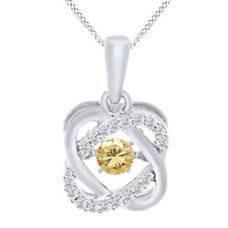 6 Ct Golden Moissanite Double Infinity Solitaire Pendant In Sterling Silver