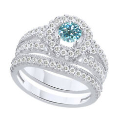 4 Ct Round Light Blue Moissanite Bridal Engagement Rings In Sterling Silver