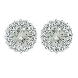 Sterling Silver 6 Ct Round Genuine Moissanite Stud Halo Earrings