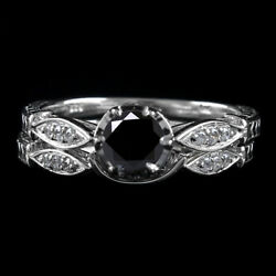 6 Ct Black Moissanite 2 Piece Bridal Set Wedding Rings In Sterling Silver