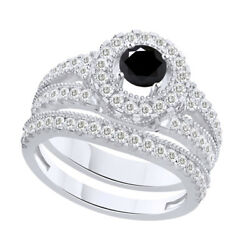 2.75 Ct Round Black Moissanite Bridal Engagement Rings In Sterling Silver