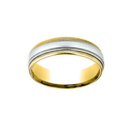 14k Two-toned 6mm Comfort-fit Carved Menand039s Band Ring Double Milgrain Size 11