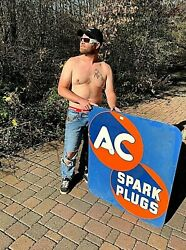 Vintage Early Rare Ac Spark Plug Parts Sign 2sided Gasoline Oil Gas